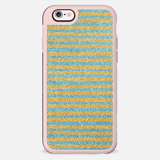 Blue Gold Sparkle Stripes