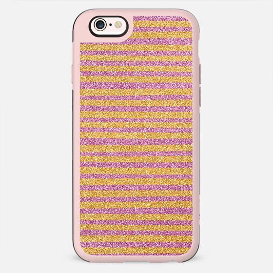 Gold & Pink Sparkle Stripes