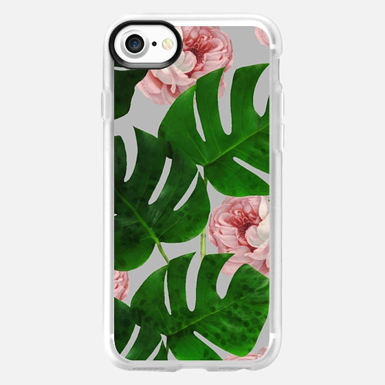 Monstera & Rose Pattern iPhone & iPod case - Wallet Case
