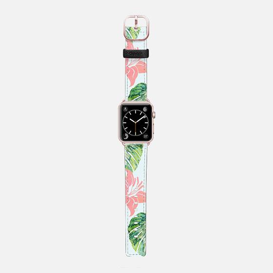 Monstera + Pink Watch Band - Saffiano Leather Watch Band