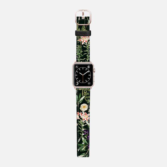 Dark Botanical Garden Watch Band - Saffiano Leather Watch Band