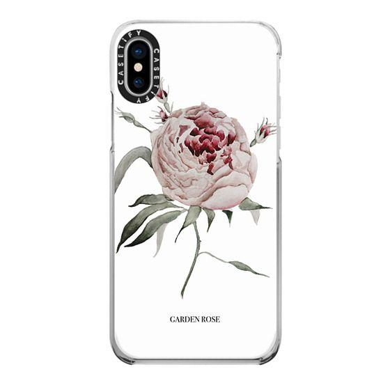iPhone X Cases - garden rose - white