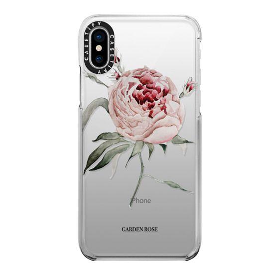 iPhone X Cases - garden rose watercolor