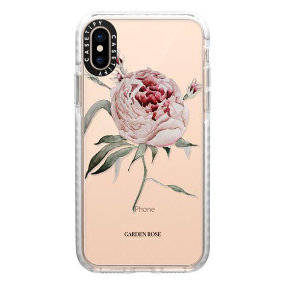 iPhone XS Cases - garden rose watercolor