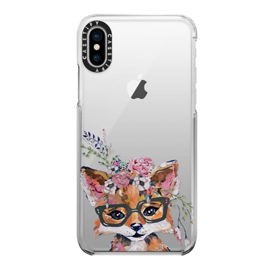 iPhone X Cases - Hipster Fox in Bloom