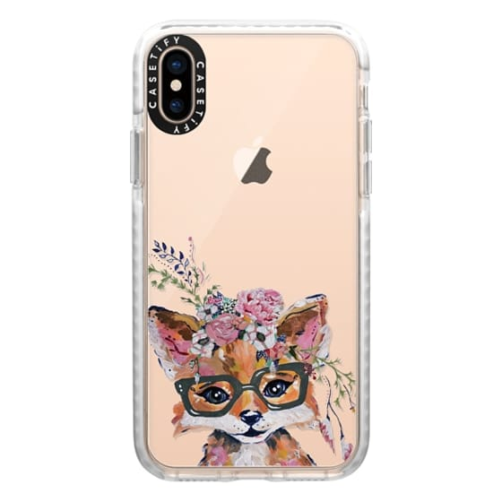 iPhone XS Cases - Hipster Fox in Bloom