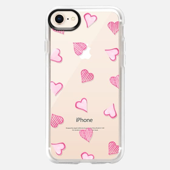 Pink Hearts Clear - Snap Case