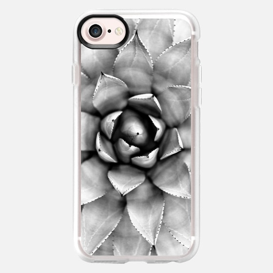 SUCCULENT BLACK AND WHITE ECHEVERIA CACTUS SUMMER GREY GRAY LEAVES NATURE - Wallet Case