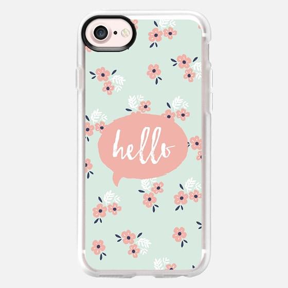 HELLO TEXT PINK MINT FLORAL FLOWERS PEACH BLUSH TYPOGRAPHY SPEECH BUBBLE MINI PRINT GIRLY CUTE - Wallet Case