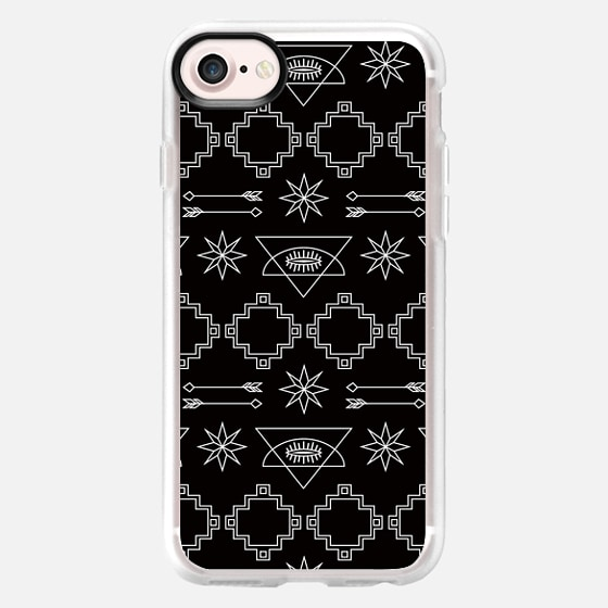 AZTEC PATTERN BLACK AND WHITE GEOMETRIC BOHO SOUTH WESTERN TRIBAL WHITE SIMPLE MINIMAL ARROWS STARS EYES - Wallet Case