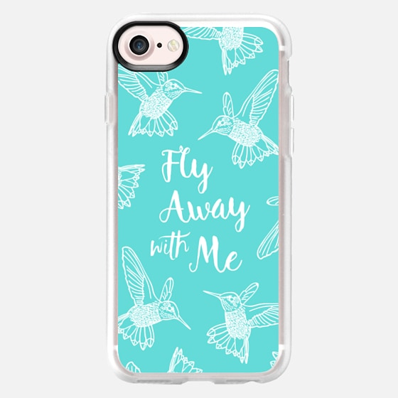 HUMMINGBIRDS FLY AWAY WITH ME TEXT AQUA BLUE PEARL TEAL WHITE BOHO BIRDS FEATHERS GIRLY SIMPLE NATURE ELEGANT WANDERLUST - Wallet Case