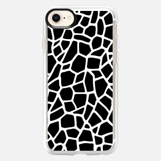 WHITE ABSTRACT LINES ON BLACK GEOMETRIC PATTERN CRAZY PAVING - Snap Case
