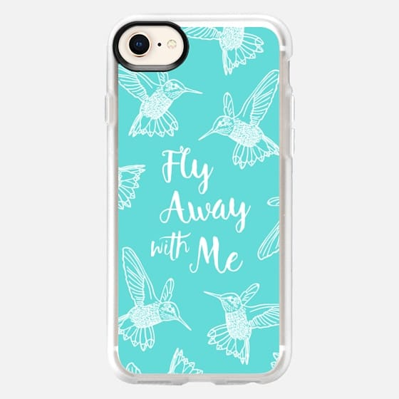 HUMMINGBIRDS FLY AWAY WITH ME TEXT AQUA BLUE PEARL TEAL WHITE BOHO BIRDS FEATHERS GIRLY SIMPLE NATURE ELEGANT WANDERLUST - Snap Case