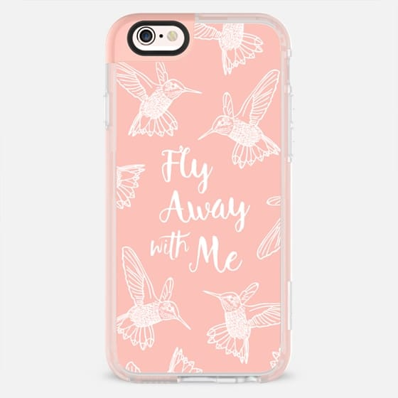 HUMMINGBIRDS FLY AWAY WITH ME TEXT BLUSH PINK PEACH WHITE BOHO BIRDS FEATHERS GIRLY SIMPLE NATURE ELEGANT WANDERLUST