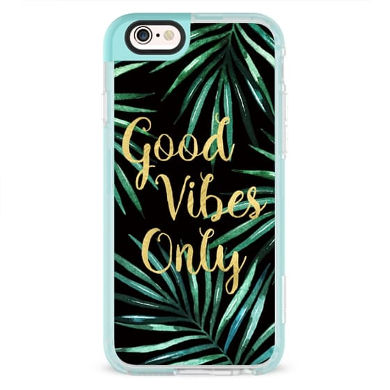 iPhone 7 Cases - GOOD VIBES ONLY TROPICAL LEAVES ON BLACK WATERCOLOR  TEXT FAUX GOLD PALM TREE SUMMER BEACH CALIFORNIA COAST AQUA GREEN BEACH