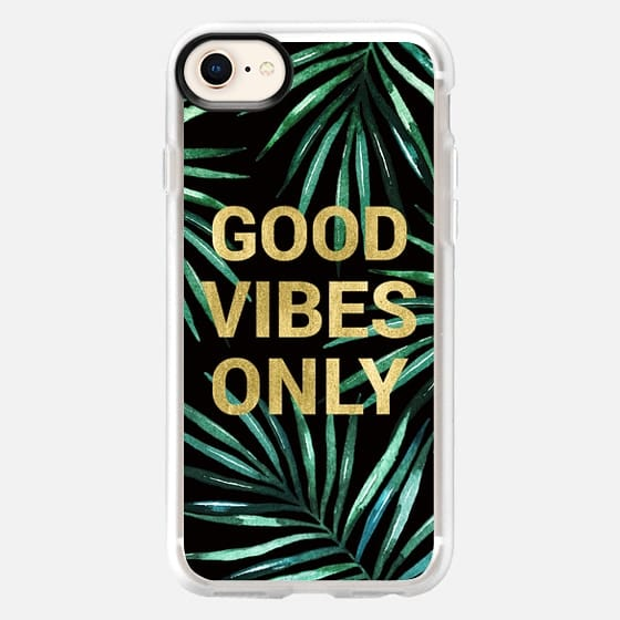 GOOD VIBES ONLY TROPICAL LEAVES ON BLACK WATERCOLOR  TEXT FAUX GOLD PALM TREE SUMMER BEACH CALIFORNIA COAST AQUA GREEN - Snap Case