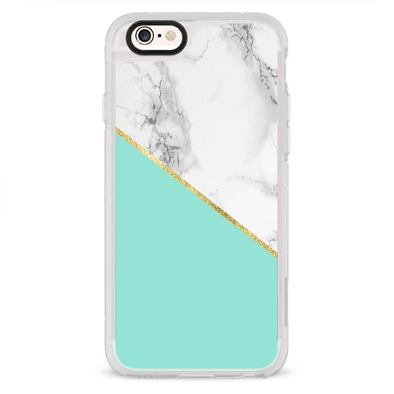 COLOR BLOCK GRAY MARBLE AND MINT GREEN FAUX GOLD AQUA WHITE GLITTER STONE