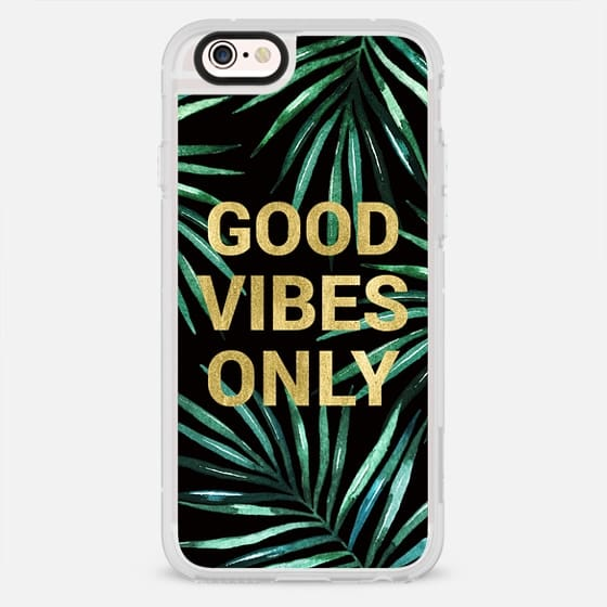 GOOD VIBES ONLY TROPICAL LEAVES ON BLACK WATERCOLOR  TEXT FAUX GOLD PALM TREE SUMMER BEACH CALIFORNIA COAST AQUA GREEN