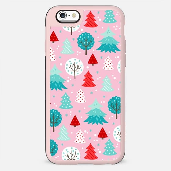CUTE PINK FESTIVE WINTER FOREST TREES PATTERN SNOW MINT RED CHRISTMAS XMAS