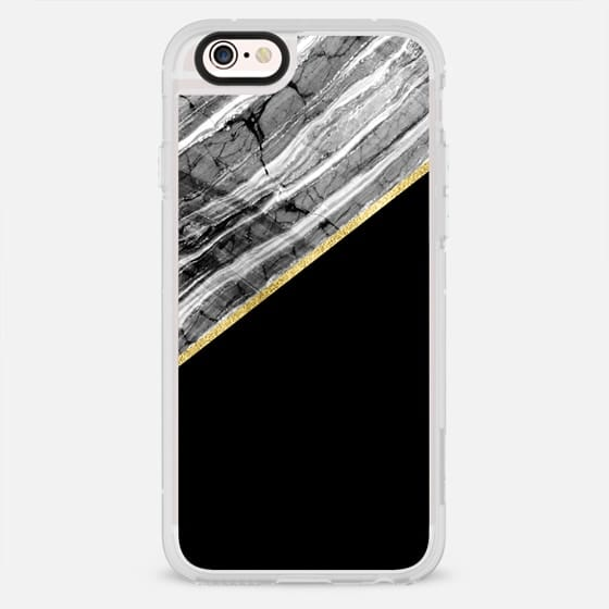 COLOR BLOCK MARBLE BLACK AND WHITE WITH FAUX GOLD GLITTER STRIPED GRAY STONE - New Standard Case