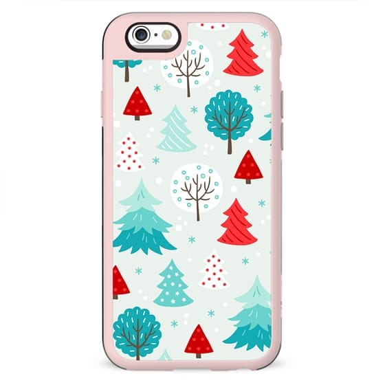 CUTE MINT AND RED FESTIVE WINTER FOREST TREES PATTERN SNOW CHRISTMAS XMAS