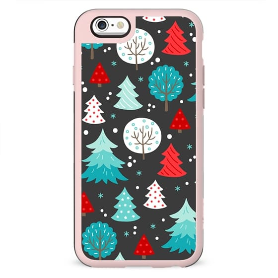 CUTE BLACK RED AND MINT FESTIVE WINTER FOREST TREES PATTERN MINT SNOW CHRISTMAS XMAS