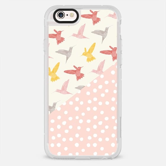 PRETTY HUMMINGBIRDS PATTERN BLUSH PINK POLKA DOTS SPOTS YELLOW CREAM GRAY GREY OCHRE BOHO BIRDS FEATHERS GIRLY SIMPLE NATURE - New Standard Case
