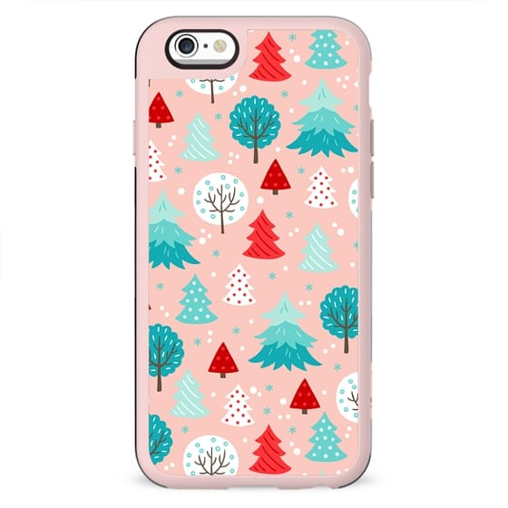CUTE BLUSH PINK FESTIVE WINTER FOREST TREES PATTERN MINT RED SNOW CHRISTMAS XMAS