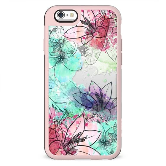 WATERCOLOR FLOWERS TRANSPARENT BOHO FESTIVAL TROPICAL DESIGN PRETTY GIRL BOSS