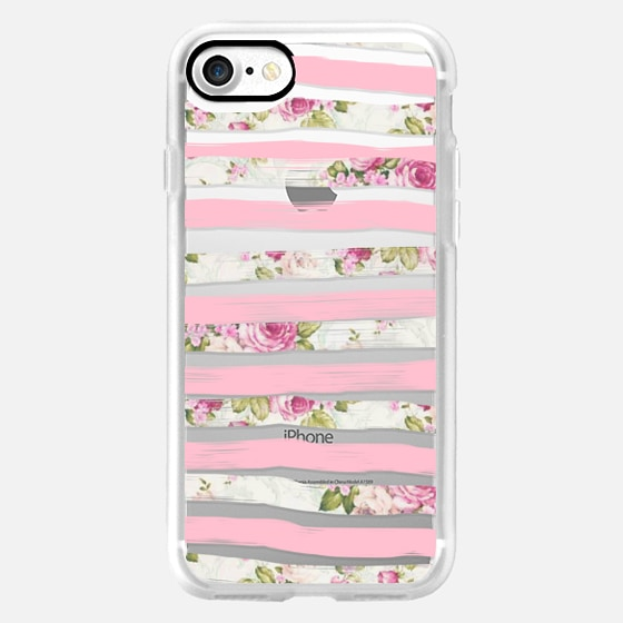 Elegant Pretty Pink Vintage Floral Print and Solid Pink Brushed Stripes - Classic Grip Case