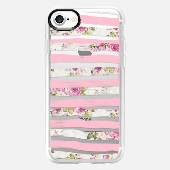 Elegant Pretty Pink Vintage Floral Print and Solid Pink Brushed Stripes -