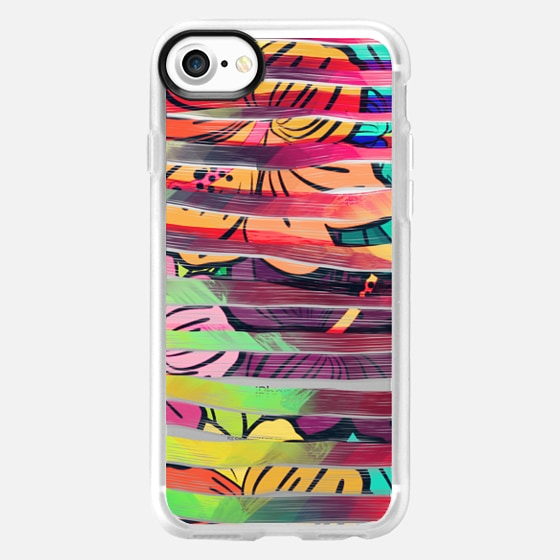 Bright Colorful Painted Brush Stripes and Painted Hawaiian Flowers  - Wallet Case