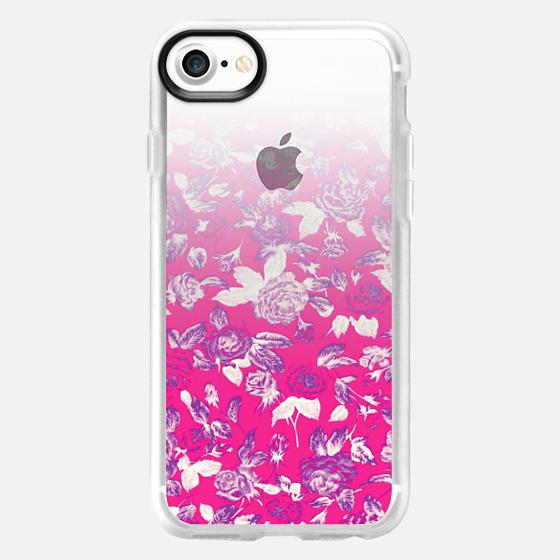 Vintage Red Roses Floral Gradient Pattern on Transparent Background - Wallet Case