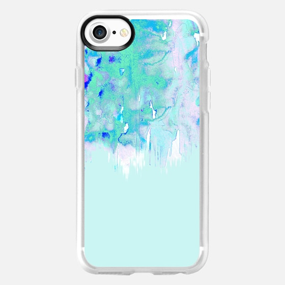 Teal Green and Blue Trendy Watercolor Painted Fade - Wallet Case