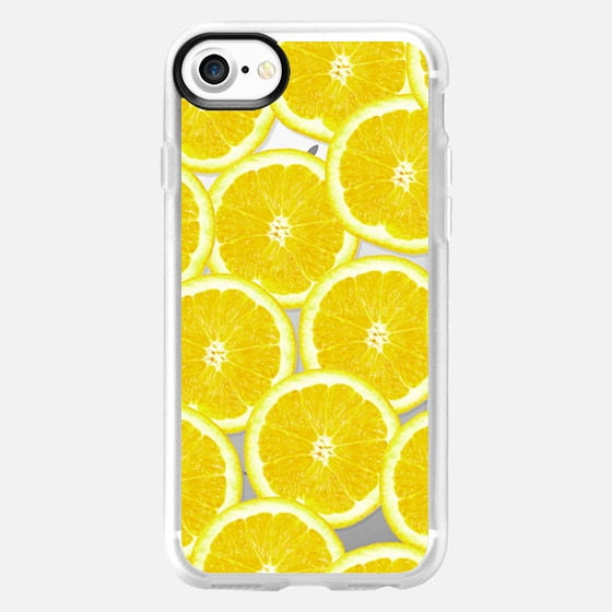 Refreshing Fruity Citrus Yellow Lemons Summer Pattern on Transparent Background - Wallet Case