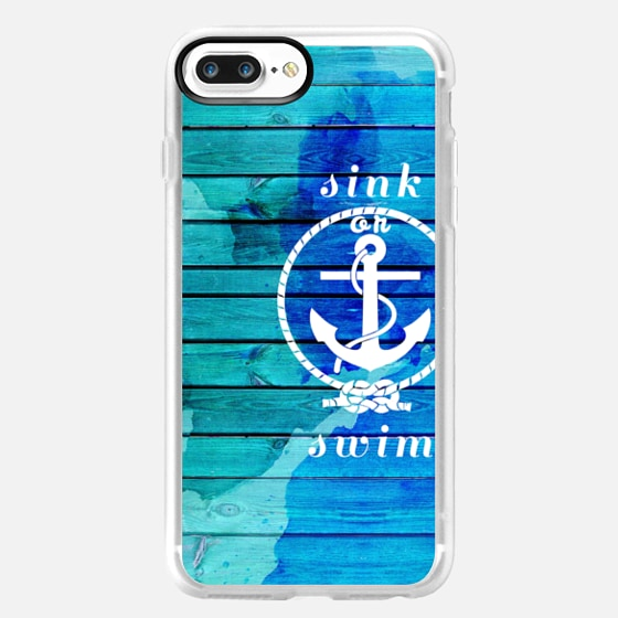 """""""Sink or Swim"""" Text Typography Anchor on Ocean Blue Watercolor Painted Wood -"""