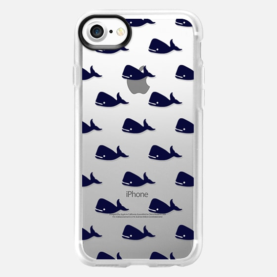 Cute Little Navy Blue Nautical Whales Animals Pattern on Transparent Background - Wallet Case