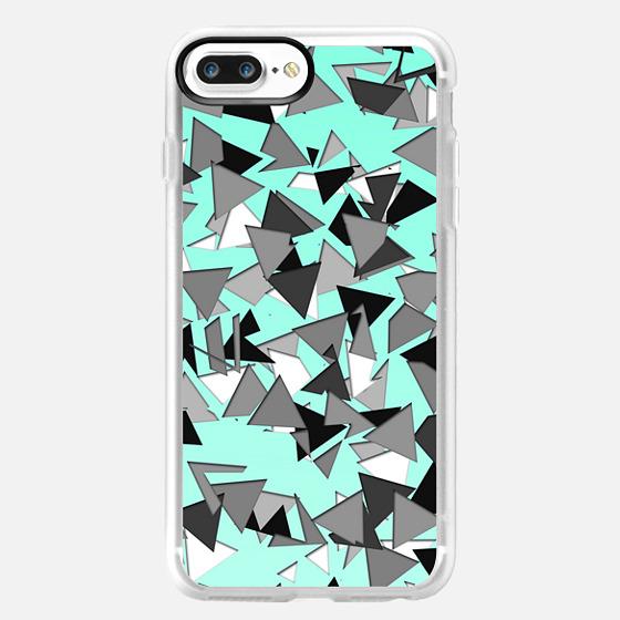 Modern Black and White Grey Scale Triangle Geometric Pattern on Aqua Teal Background -