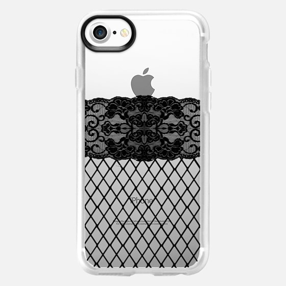 Fishnet Thigh High Stockings Black Lace Pattern on Transparent Background - Wallet Case