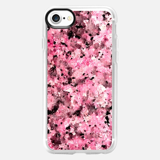Girly Pink and Black Marble Stone Pattern - Wallet Case