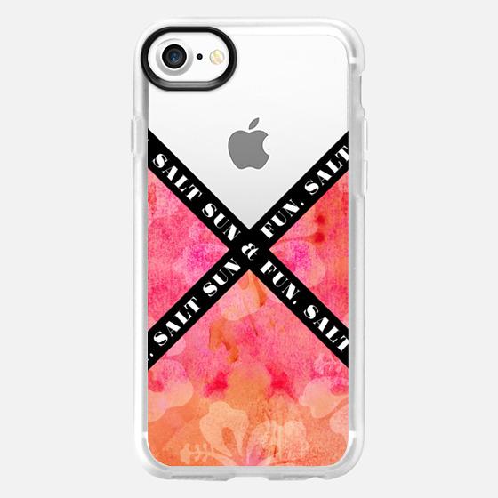 """Salt Sun & Fun"" Black & White Text Typography on Summery Orange & Pink Watercolor Painted Hawaiian Hibiscus Pattern- Transparent - Wallet Case"