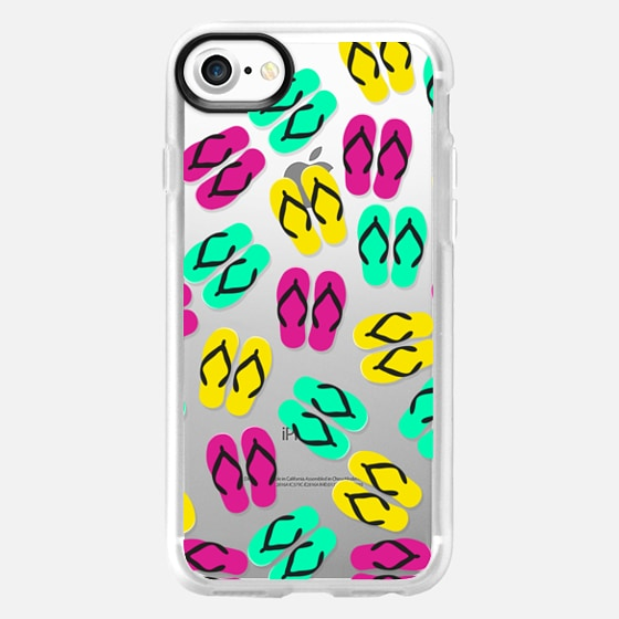 Bright Neon Yellow, Pink, and Teal Summery Flip Flops Sandals Pattern on Transparent Background - Wallet Case