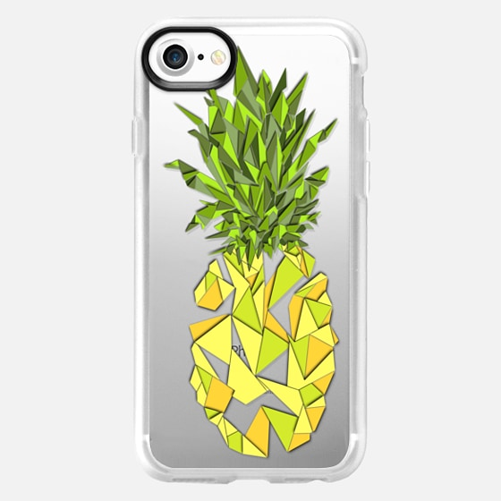 Bright Summer Yellow Geometric Fruity Triangles Pineapples on Transparent Background - Wallet Case