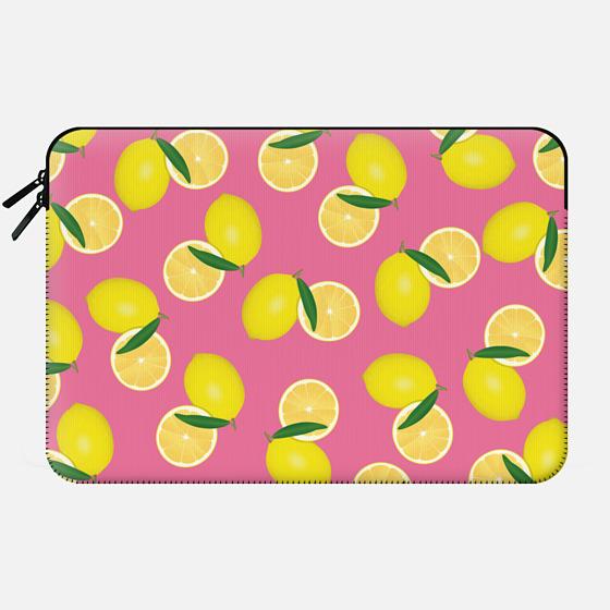 Yellow Summery Fruity Lemons Pattern on Pink Background - Macbook Sleeve