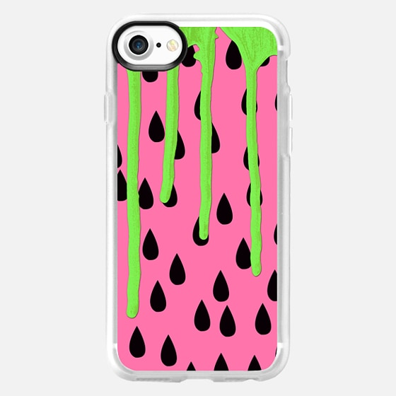 Neon Green Paint Drips on Coral Pink Fruity Watermelons Pattern Background - Wallet Case