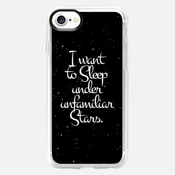 """""""I Want to Sleep Under Unfamiliar Stars."""" White Text Typography on Starry Night Sky - Wallet Case"""