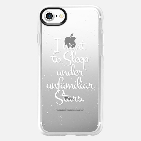 """""""I Want to Sleep Under Unfamiliar Stars."""" White Text Typography on Starry Sky- Transparent - Wallet Case"""