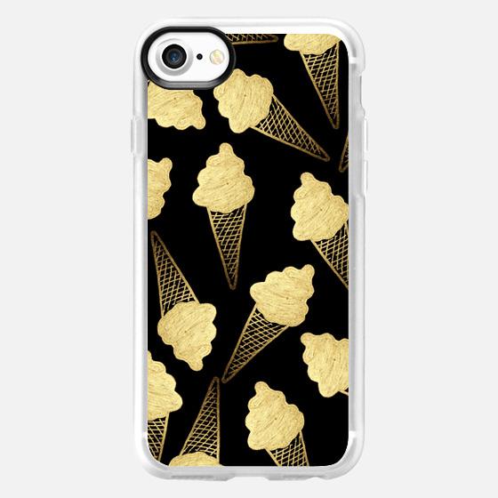 Summer Ice Cream Cone on Black- Gold Edition -
