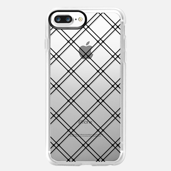 Modern Black Lineart Plaid Pattern- Transparent -