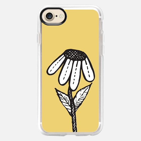 Sad Flower- Black and White Tangle Drawing on Sunshine Yellow -